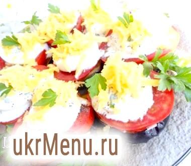 Башточки з баклажанів з помідорами, сиром і яйцем