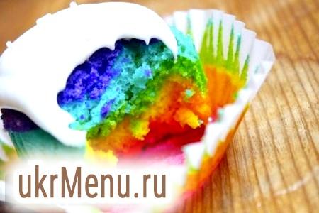 Кольоровий кекс на день народження, смачний рецепт