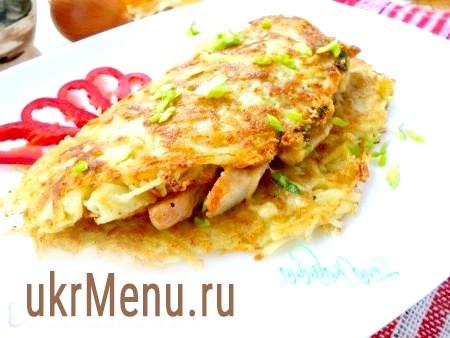 Картопляні коржі з куркою і сиром