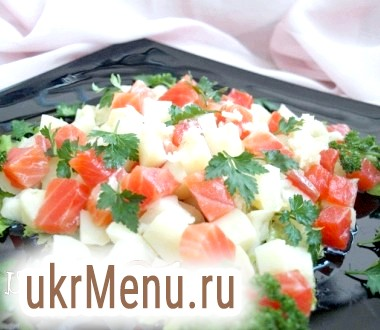 Картопляний салат з сьомгою