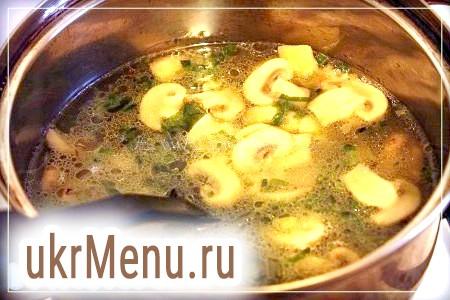 Фото - У бульйон покласти підсмажені гриби і картоплю з цибулею. Варити хвилин 10 до готовності. Солимо і перчимо до смаку.