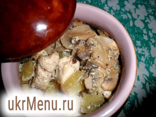 Курка з картоплею та грибами в горщику рецепт з фото на Віва