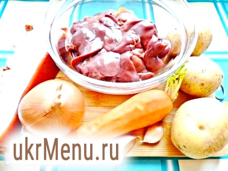 Фото - Інгредієнти для приготування курячої печінки, тушкованою з картоплею