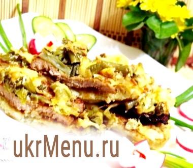 М'ясо на деруни з овочами