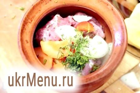 Фото - На дно кожного горщика покласти картоплю, потім шматочки м'яса, перець болгарський, морква і цибуля, зверху посипати кропом.