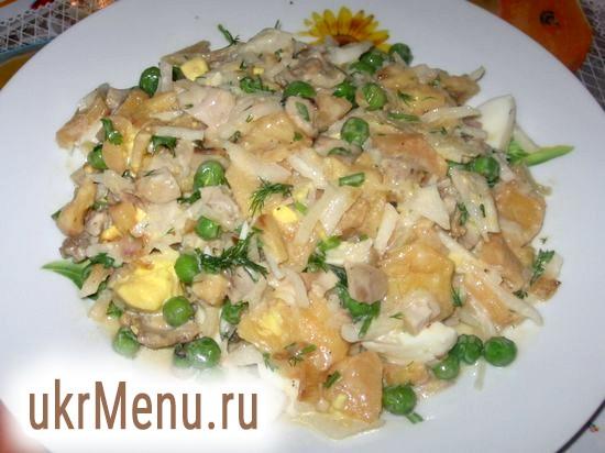 Відвареної качанний салат із зеленим горошком