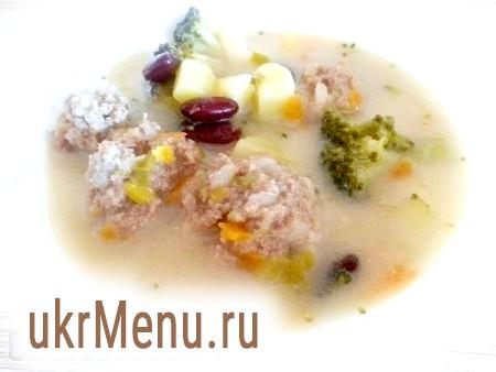 Овочевий вершковий суп з фрикадельками