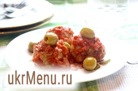 Рецепт тефтелей з фаршу в томатному соусі з оливками
