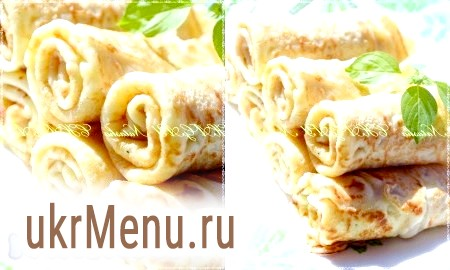 Рецепт заварних млинців на молоці з сиром