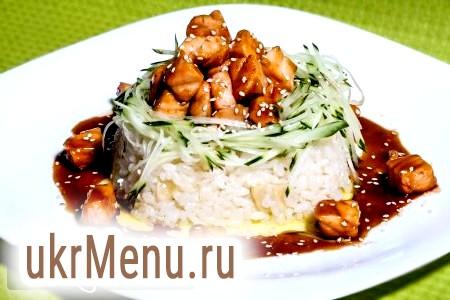 Рис з лососем під соусом теріякі