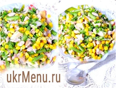 Салат із стручкової квасолі з грибами