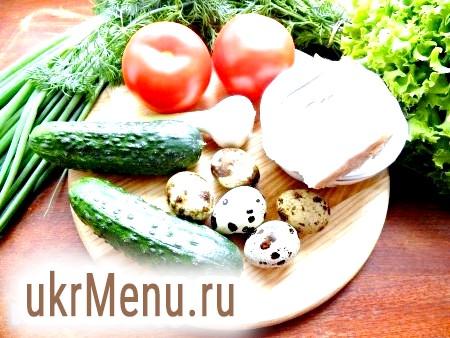 Фото - Інгредієнти для приготування салату із запеченої свинини, помідорів і огірків