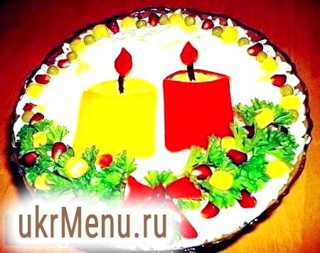 Салат новорічна свічка для святкування року кози