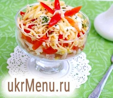 Салат з болгарським перцем, сиром і шинкою