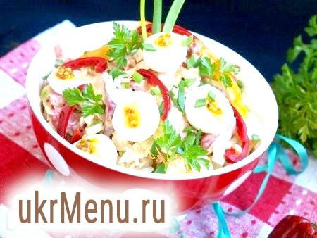 Салат з хурмою, савойської капустою і перепелиними яйцями