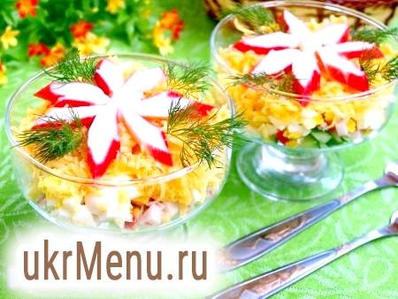 Салат з огірком, сиром і крабовими паличками