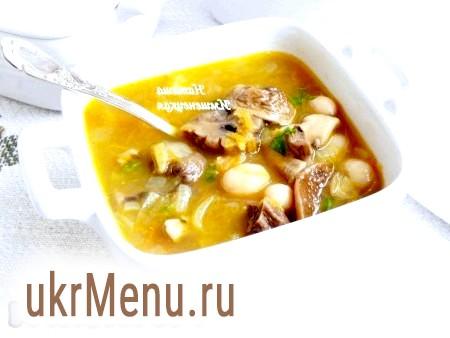 Суп з квасолею та грибами