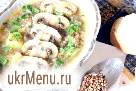 Суп з грибами і гречкою