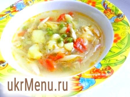 Суп з капустою і зеленим горошком