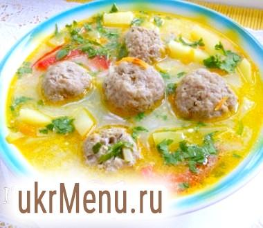 Суп з овочами і тефтелями (тефтелі з сюрпризом)