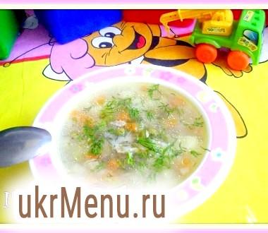 Суп з рисом і зеленим горошком