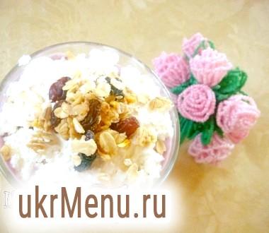 Сирний десерт з мюслі