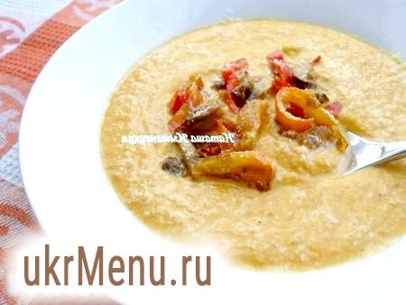 Гарбузовий суп-пюре з печерицями і болгарським перцем