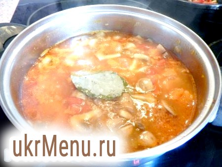 Фото - Посолити, додати спеції, сіль і варити до готовності гарбуза і грибів. Потім витягнути лавровий лист, влити вершки, довести до кипіння і вимкнути. Перелити суп з гарбуза в блендер і пюрировать, регулюючи густоту бульйоном.