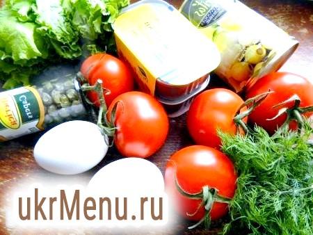 Фото - Інгредієнти для приготування салату з печінки тріски в помідорах
