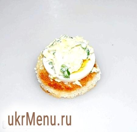Фото - На кружечок яйця розміщуємо приготовані закуски.