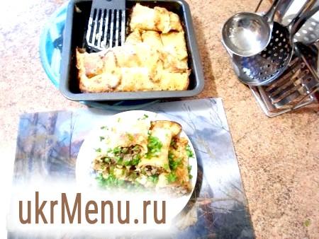 Запечені млинці з начинкою з м'яса і грибів