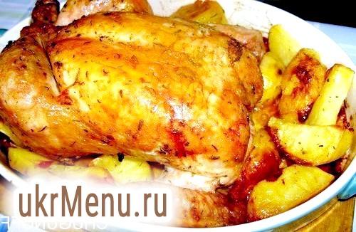 Курча, печена на вершковому маслі