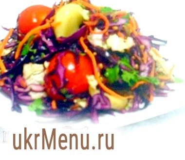 Салат з червонокачанної капусти з печеним часником