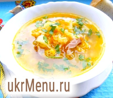 Суп гороховий з копченою куркою