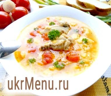 Суп з куркою, рисом і маринованими помідорами