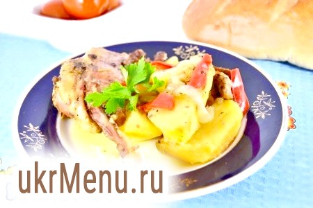 Качка, запечена з картоплею