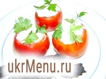 Фаршировані помідори з сиром і часником