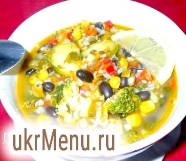 Суп з чорною квасолею і гречкою