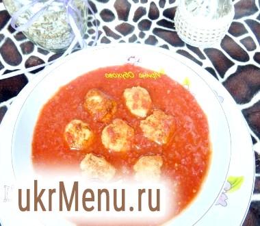 Томатний суп з курячими фрикадельками по-львівськи