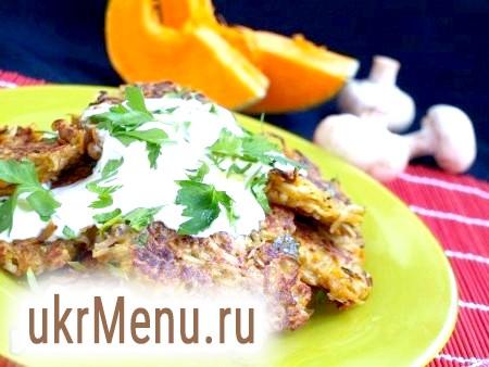 Фото - Смачні деруни з гарбуза і картоплі подаємо зі сметаною, посипавши петрушкою.